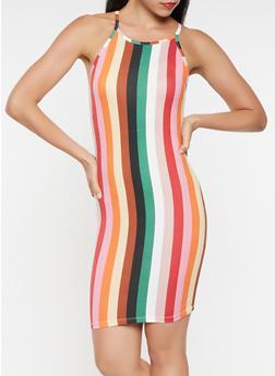 Striped Bodycon Tank Dress - 3410061350944