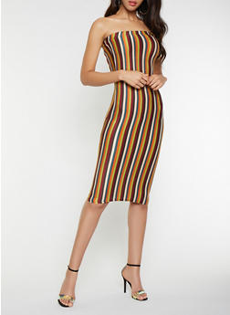 Striped Midi Tube Dress - 3410061352810