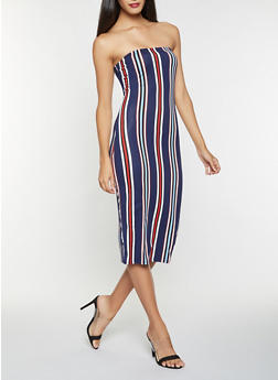 Striped Soft Knit Tube Dress - 3410061352819