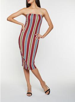 Striped Soft Knit Tube Dress - 3410061352819