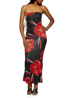 Floral Print Tube Maxi Dress - 3410061354109