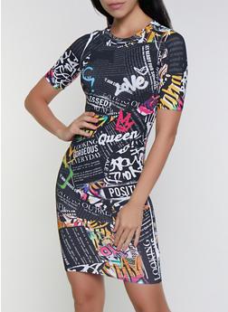 Text Print Bodycon Dress - 3410061359250