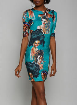 Abstract Face Print Bodycon Dress - 3410062124972