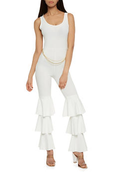 Tiered Leg Chain Jumpsuit - 3410062700081