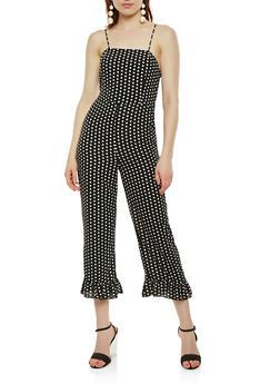 Polka Dot Tie Back Cropped Jumpsuit - BLACK/WHITE - 3410062700082