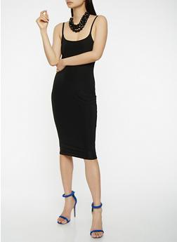 Solid Slip Dress - BLACK - 3410062701820