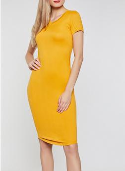 V Neck T Shirt Dress - 3410062707123