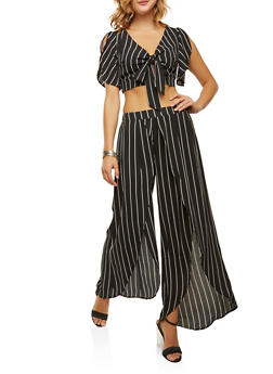 Striped Crop Top with Split Leg Palazzo Pants Set - BLACK - 3410062708018