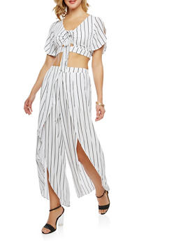 Striped Crop Top with Split Leg Palazzo Pants Set - WHITE - 3410062708018