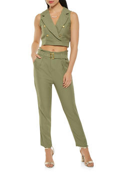 Button Detail Crop Top and Belted Pants Set - 3410062708022