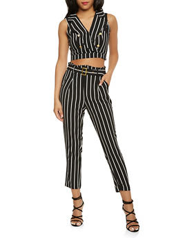 Striped Crop Top and Dress Pants Set - BLACK - 3410062708023
