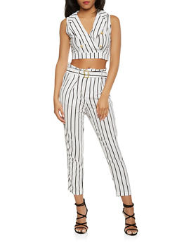 Striped Crop Top and Dress Pants Set - WHITE - 3410062708023