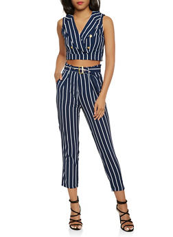 Striped Crop Top and Dress Pants Set - NAVY - 3410062708023