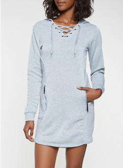 Lace Up Moto Sweatshirt Dress - 3410063407874