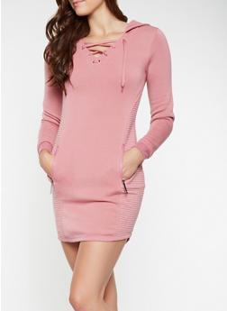 Lace Up Moto Sweatshirt Dress - 3410063407874