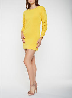 Ruched Sleeve Sweatshirt Dress - 3410063408037