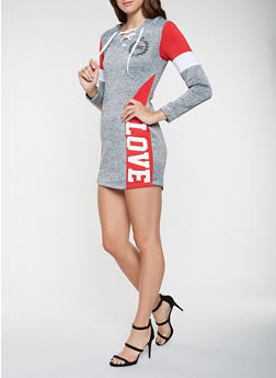 Love Graphic Color Block Sweatshirt Dress - 3410063408101