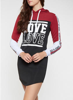Color Block Love Graphic Sweatshirt Dress - 3410063408104