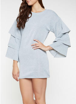 Tiered Sleeve Sweatshirt Dress - 3410063408267