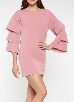 Tiered Sleeve Sweatshirt Dress - 3410063408267