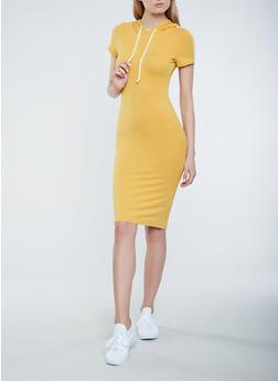 Hooded T Shirt Midi Dress - 3410066490234