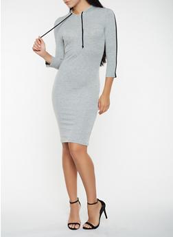 Side Stripe Hooded T Shirt Dress - 3410066491234