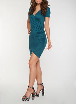 Faux Wrap Bodycon Dress - 3410066491431