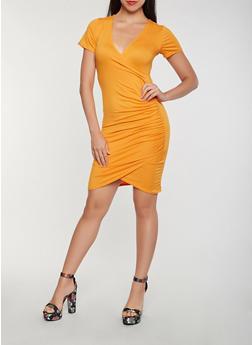 Faux Wrap Bodycon Dress - 3410066491431