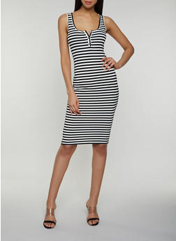 Half Button Striped Tank Dress - 3410066491485