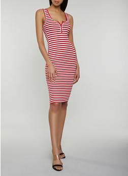 Half Button Striped Tank Dress - 3410066491485