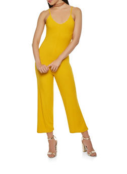 Ribbed Knit Gaucho Jumpsuit - 3410066492109