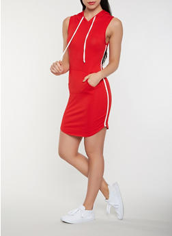 Side Stripe Hooded Tank Dress - 3410066492208