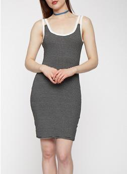 Striped Double Strap Tank Dress - 3410066492247