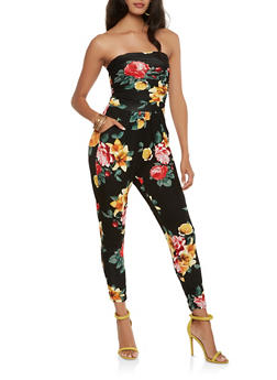 Floral Tube Jumpsuit - 3410066492345