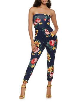 Floral Tube Jumpsuit - 3410066492345