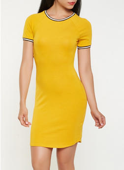 Contrast Trim T Shirt Dress - 3410066492555
