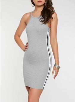 Side Stripe Bodycon Tank Dress - 3410066492627