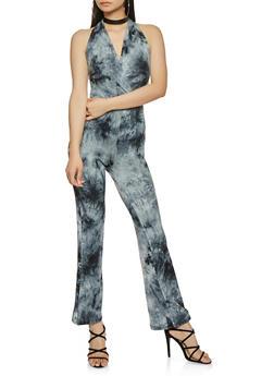 Tie Dye Faux Wrap Halter Jumpsuit - 3410066492788