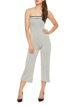 Athletic Band Trim Cropped Jumpsuit - 3410066492799
