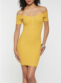 Off the Shoulder Bodycon Dress - 3410066492847