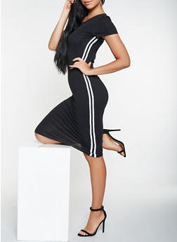 Striped Trim T Shirt Dress - 3410066493064