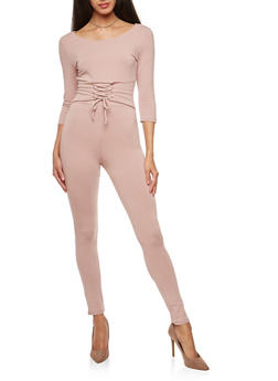 Lace Up Waist Catsuit - 3410066493109