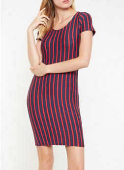 Striped T Shirt Dress - 3410066493127