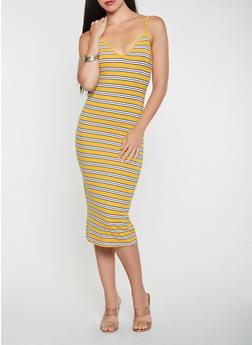 Striped Midi Tank Dress - 3410066493142