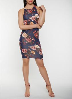 Floral Bodycon Tank Dress - 3410066493191