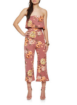 Strapless Floral Cropped Jumpsuit - 3410066493255