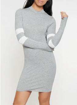 Varsity Stripe Mock Neck Dress - 3410066493272