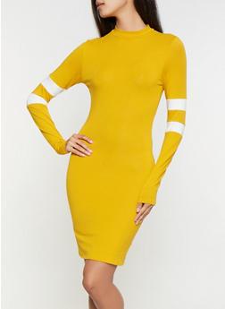 Varsity Stripe Mock Neck Dress - 3410066493272