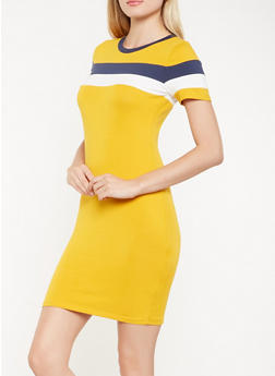 Color Block T Shirt Dress - 3410066493301