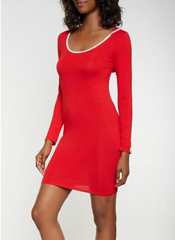 Contrast Trim Hooded Bodycon Dress - 3410066493335